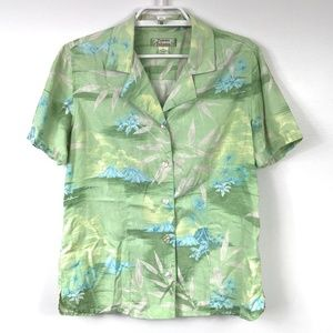 Tommy Bahama Light Green & Blue Silk Blouse - M